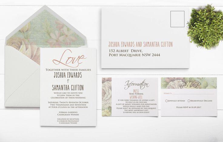 Vintage Floral ~ Floral Wedding Invite - Vintage Wedding Invitation - Vintage Flowers - Vintage Garden - Vintage Wedding Set - Rustic Invite