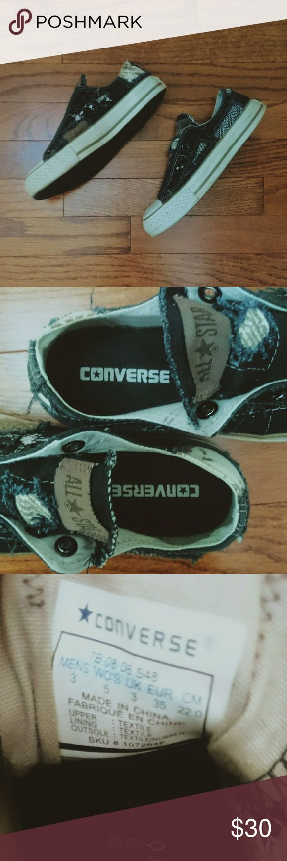 Converse Slip-ons Size 5 patchwork navy denim slip-ons; EUC. Converse Shoes Sneakers
