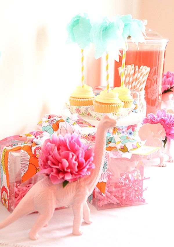 A Girl's Dino Party with DIY dino vases...such a fun, creative twist! {Abby Hunter}