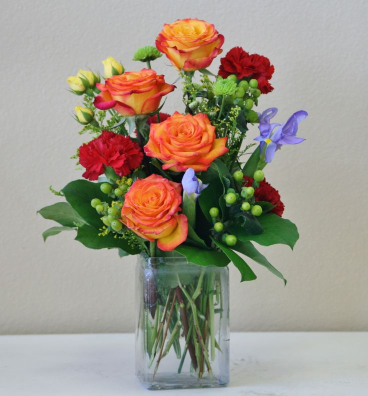 orange yellow and blue flowers in a