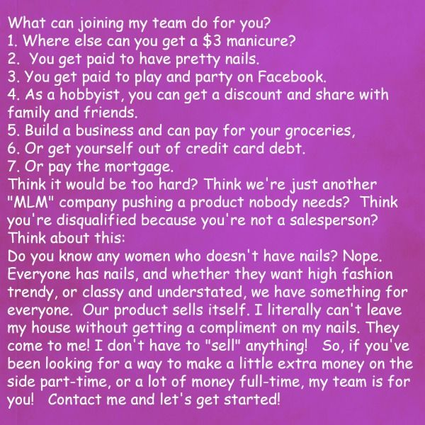 why you should join my team. contact me! http://mirandamatteson.jamberrynails.net