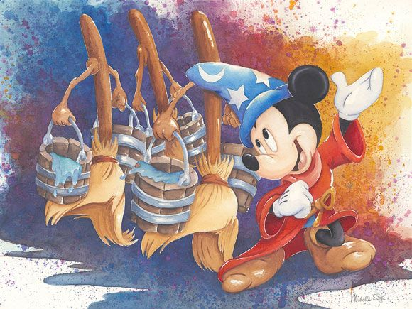 Disney Fine Art - Magical March. Mickey Fantasia Sorcerer's Apprentice. Biggs Ltd. Gallery. Heirloom quality bridal, art, baby gifts and home decor. 1-800-362-0677. $450.:
