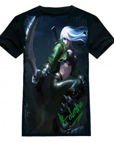 online game lol Katarina black t shirt for men 2015 latest League of Legends hero t shirts-