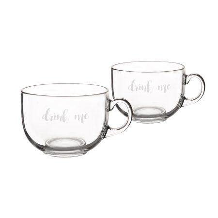 Cathy's Concepts 22 oz. Large Glass Coffee Mugs (Set of 2), White