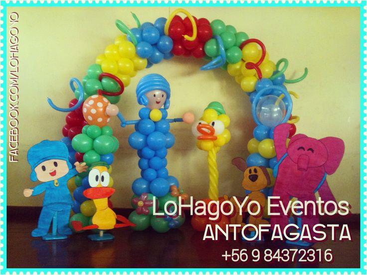 Pocoyó y sus amigos, figuras en globos y madera.