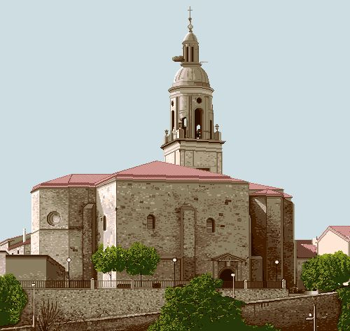 Iglesia de Mendavia, un encargo de gran formato con 90,7 x 85,6 cm pero con unos escasos 19 colores.