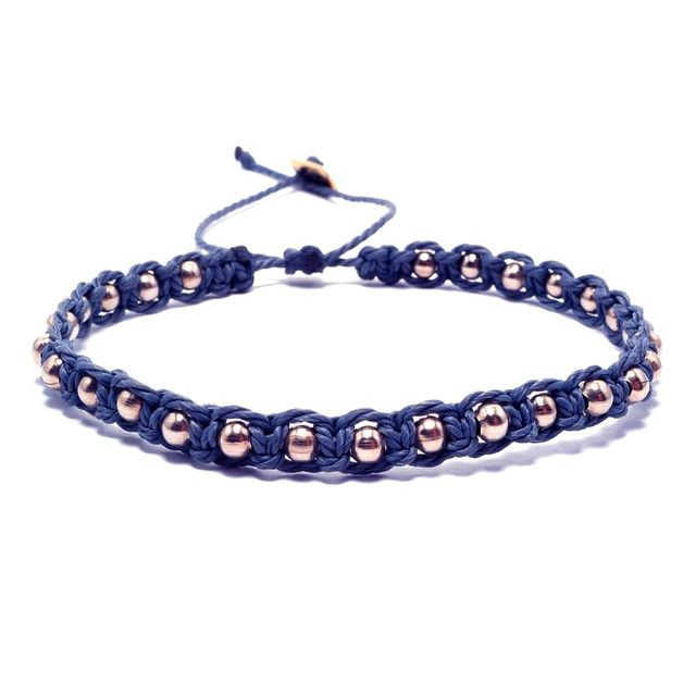 Braided Bracelets – SET-navy blue – a unique product by SheAndHe on DaWanda