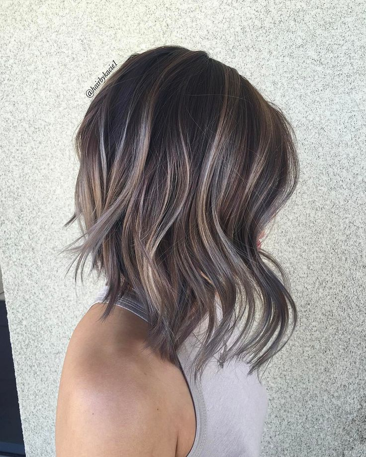 A-line bob and soft balayage on a dark base by ...