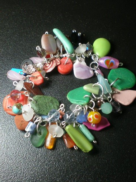 Beach trash and sea glass bracelet from SeaFindDesigns on easy