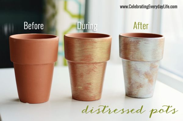 Clay Pots Distressed with Paint – A Michaels Craft DIY | Celebrating everyday life with Jennifer Carroll