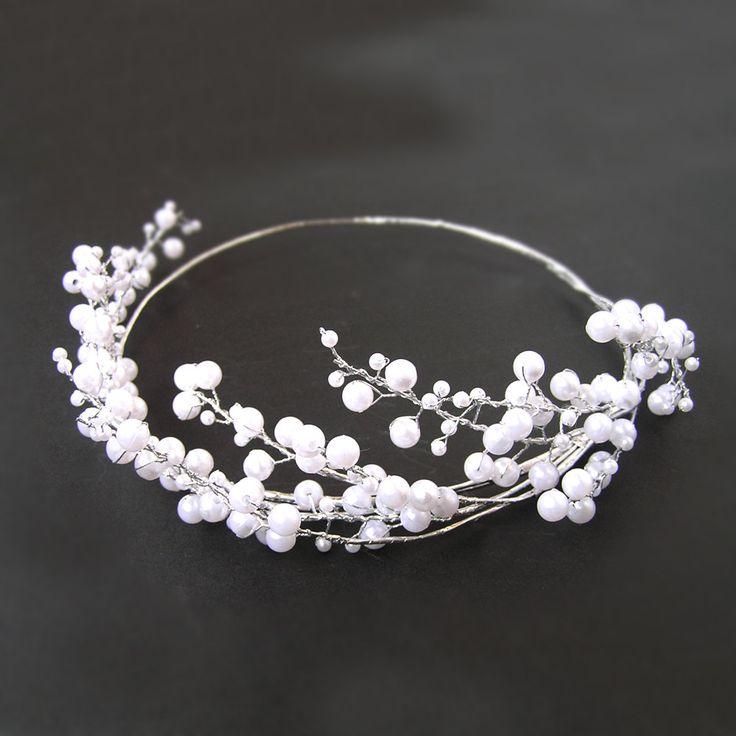Pearl Hair Vine, Pearl Hair Crown, Wedding Headband, Pearl Tiara, Pearl…