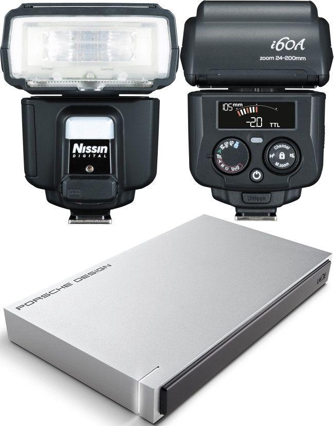 Blit pe patina Nissin i60A plus EHDD LaCie PORSCHE DESIGN, 2TB USB 3.0