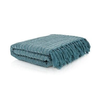 """Chenille Stripe Throw - colour reference used by Woolies-"""" Duck Egg"""""""
