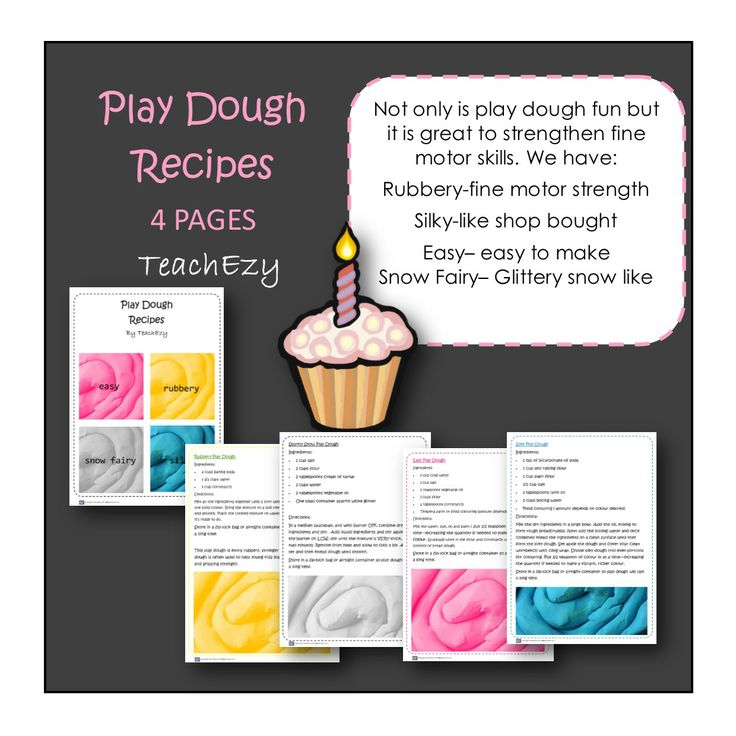 Play dough recipes that are easy to make and tips on how play dough play time can help your child's development.