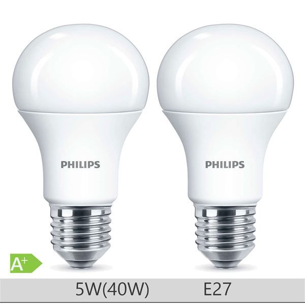 Set 2 Becuri LED Philips 5W E27 forma clasica A60, lumina neutra http://www.etbm.ro/becuri-led