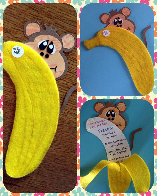 Banana Peel monkey birthday Invitations. $3.00, via Etsy.