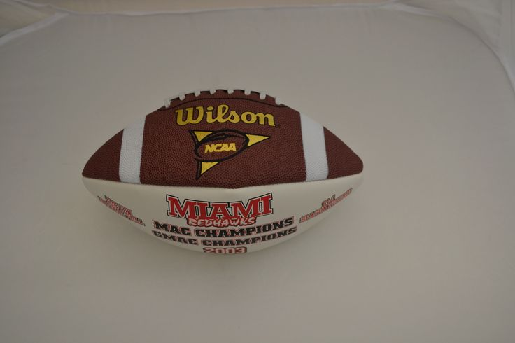 Commemorative football from the 2003 Miami championship season. The notable player from this team was Ben Roethlisberger whose number 11 selection in the NFL draft was the highest ever draft pick for a football player from Miami. #Oxford #Ohio #HistoryHarvest #Redskins #Redhawks #Athletics #Tradition #MACConference #MiamiUniversityArchives