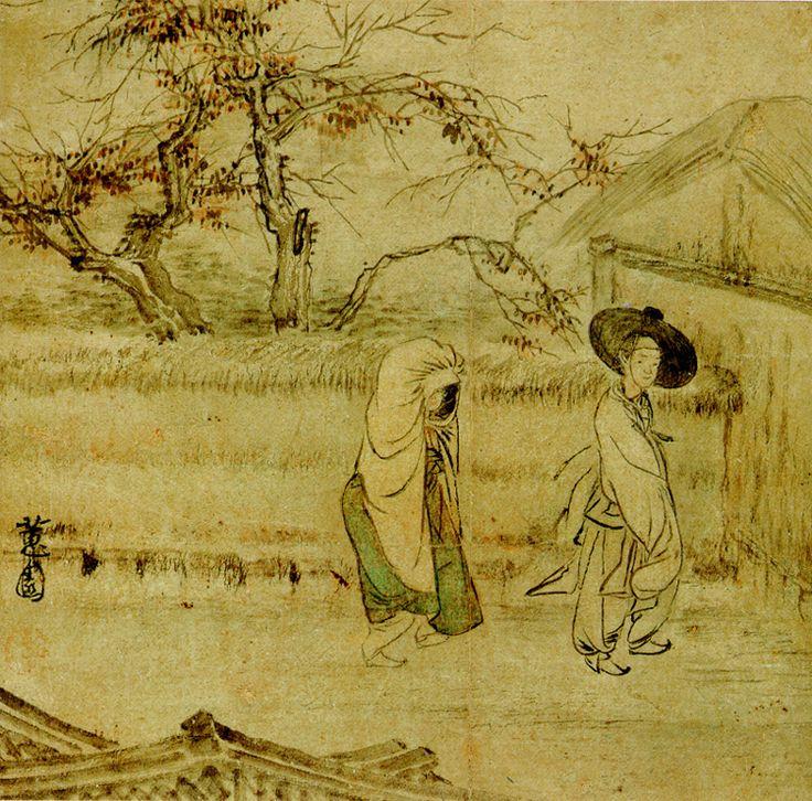 (Korea) 춘야밀회 by Shin Yun-bok (1758~ ?). aka Hyewon. ca 18th century CE. color on paper. Gansong gallery, Korea.