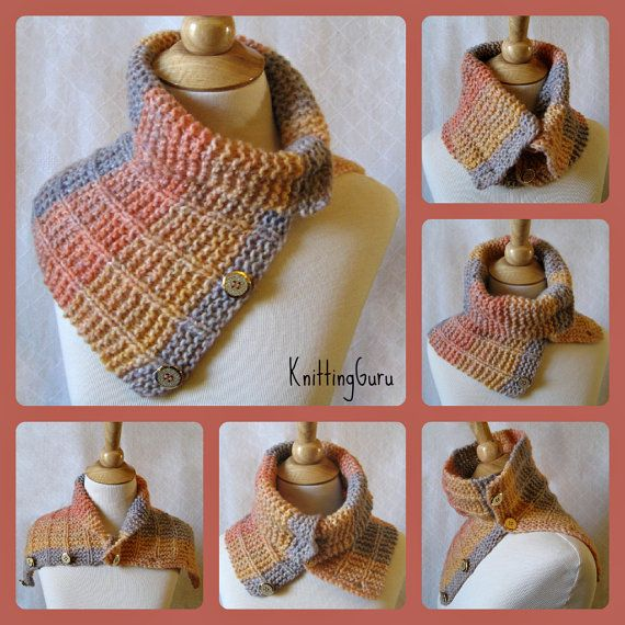#Knitting_Pattern - Versatile convertible cowl/capelet is Very Easy to Knit. This is a #KnittingGuru Tutorial Pattern.