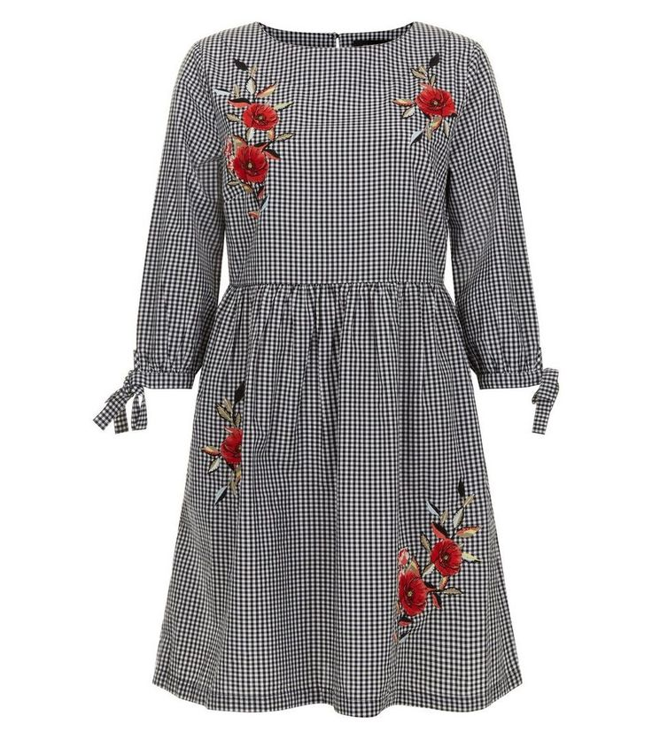 Black Floral Embroidered Gingham Check Smock Dress  | New Look