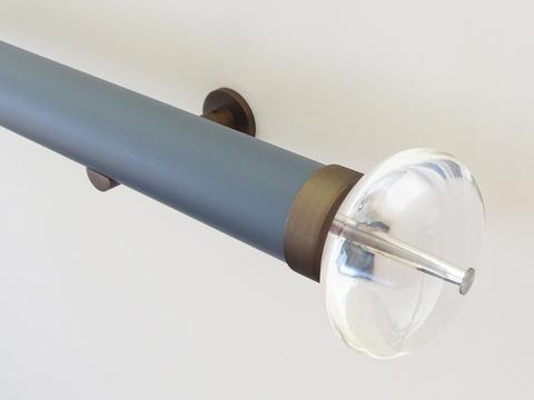 50mm diameter matt lead wooden curtain pole with acrylic ellipse finials, steel brackets