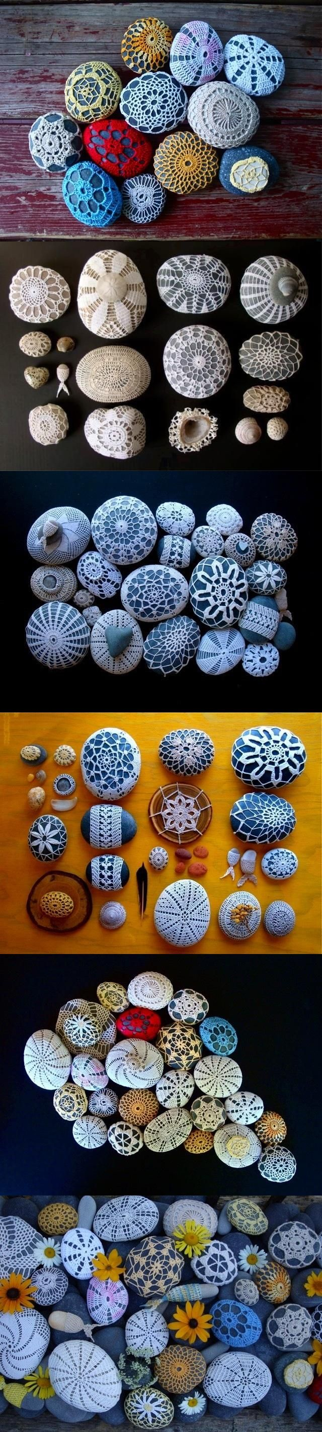 Crochet doily rock, stone covers. Inspiration.