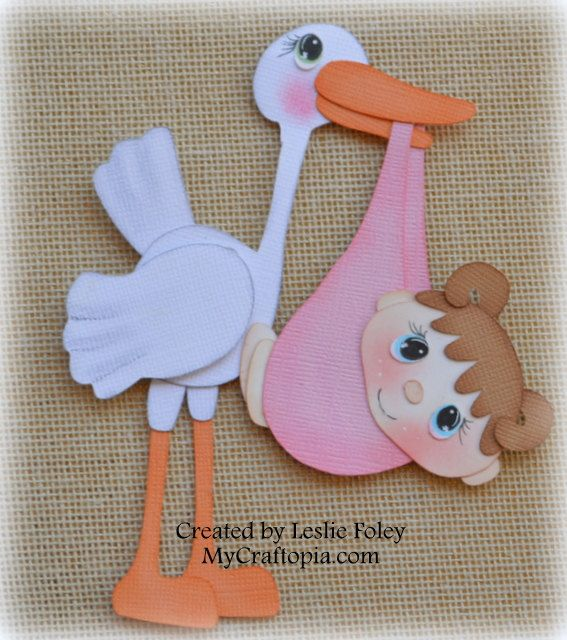 Baby with Stork Premade Scrapbooking Embellishment by MyCraftopia, $5.95