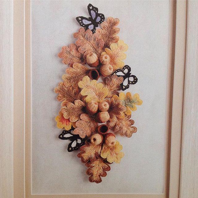 Sonbahar renkleri...🍂🍁🍂Stumpwork çalışması...🍁🍁🍁Dekoratif Nakış Dergisi 9.sayı...🍂🍂🍂#dekoratifnakış#stumpwork#sonbahar #autumn#embroidery#nakış#elişi#handmade#madeira#lana#meşepalamudu#