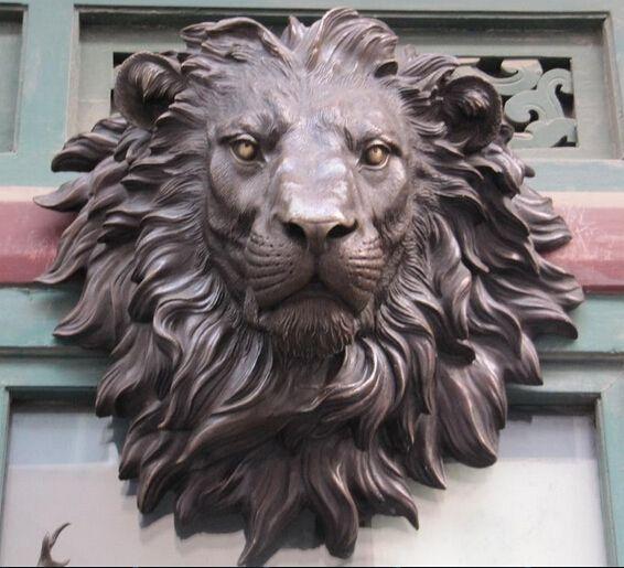 Fafa88053 The Huge Lion Head Flat Bronze Font B Sculpture
