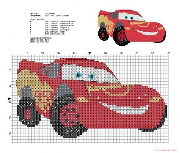 Rayo McQueen Disney Cars patrón punto de cruz - patrones punto de ...
