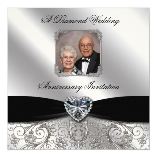 60th Wedding Anniversary Photo Invitation Card