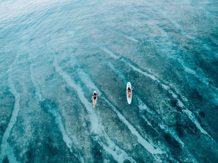 Monyca Eleogram and Mainei Kinimaka paddling into a turquoise dream #WildAloha
