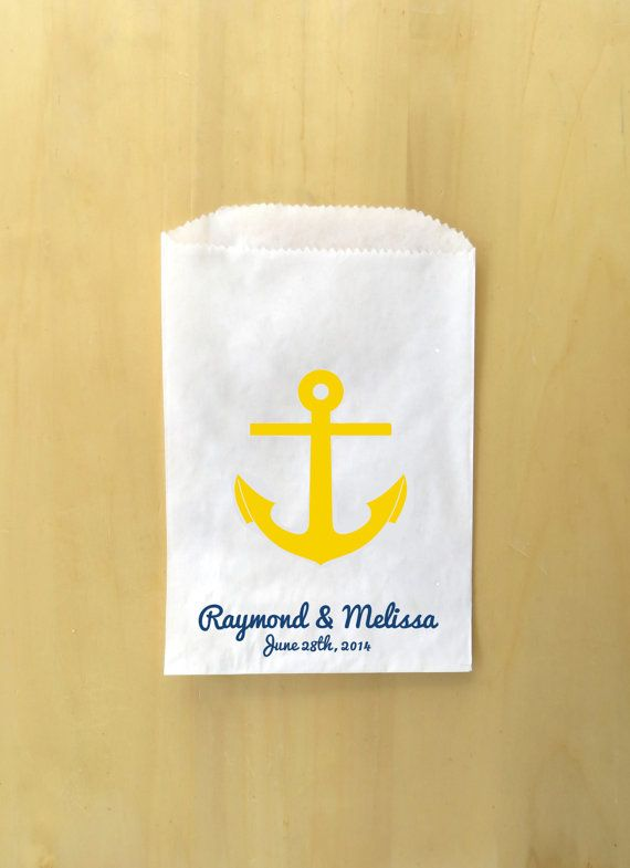 Nautical Wedding Anchor Candy Favor Bags Wedding by TheGalaHouse