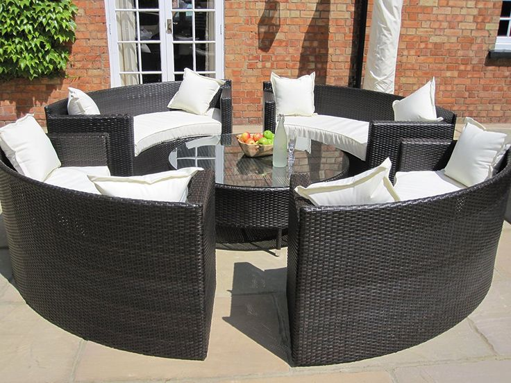 Lauren Luxury Grey Rattan Garden Furniture Circular Sofa and Coffee Table Set. >>> Read more details by clicking on the image. #GardenFurnitureandAccessories