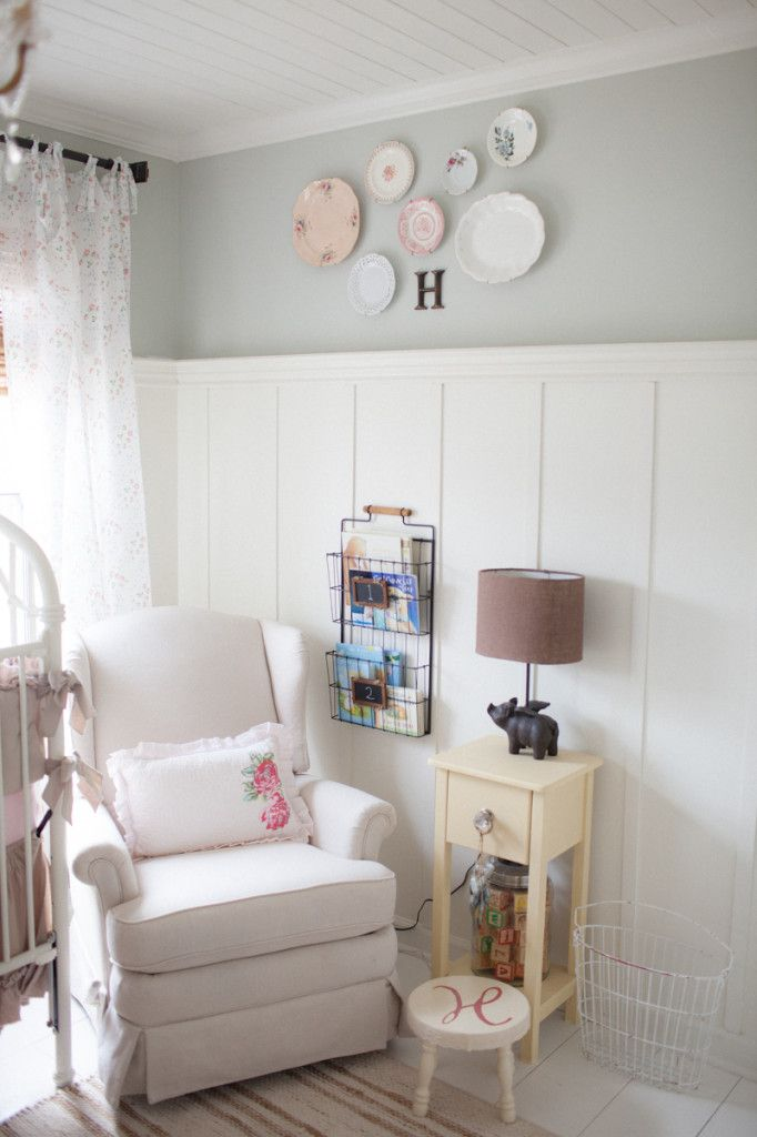 The board and batten in this shabby chic nursery brightens up the room - just beautiful! #nursery #shabbychicShabbychic