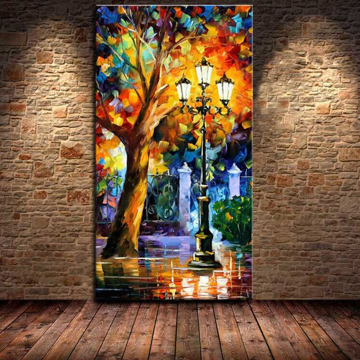 Cheap decorative painting pictures, Buy Quality decorative wood painting directly from China painting sunrise Suppliers: Large Handpainted Abstract Modern Wall Painting Rain Tree Road Palette Knife Oil Painting On Canvas Wall Decor Ho