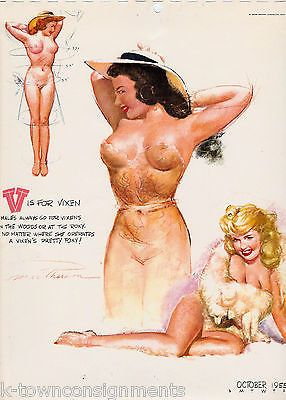 PIN-UP GIRL V IS FOR VIXEN VINTAGE 1950s CHEESECAKE GRAPHIC ART POSTER PRINT