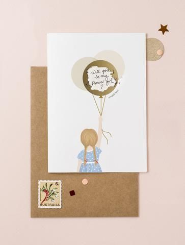 Little Girl Holding Balloons - Hair Blond - Scratch Off Card - Ask Will You be My Godmother