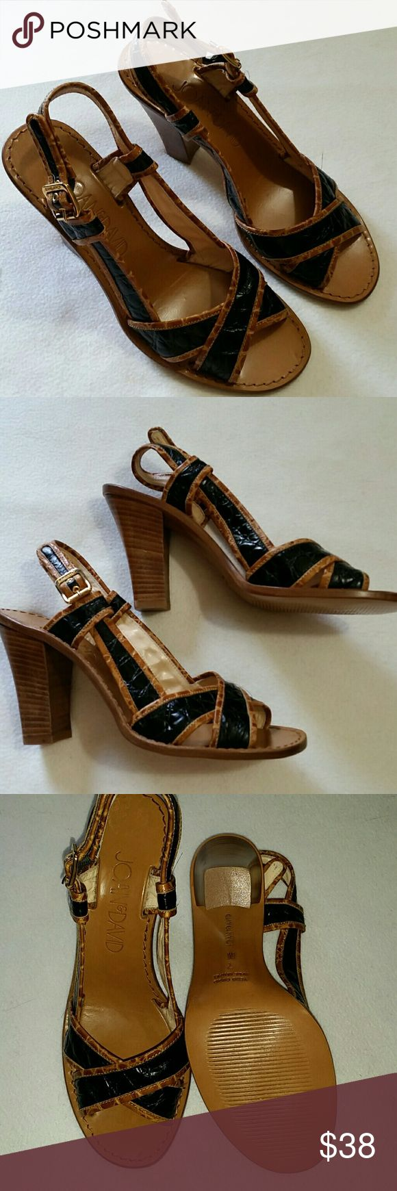 Joan & David shoes Beautiful,  brown and navy blue sandals by Joan & David.  In great condition,  barely worn.  Buckle strap,  heels measures approximately 3.5 inches. Joan & David Shoes