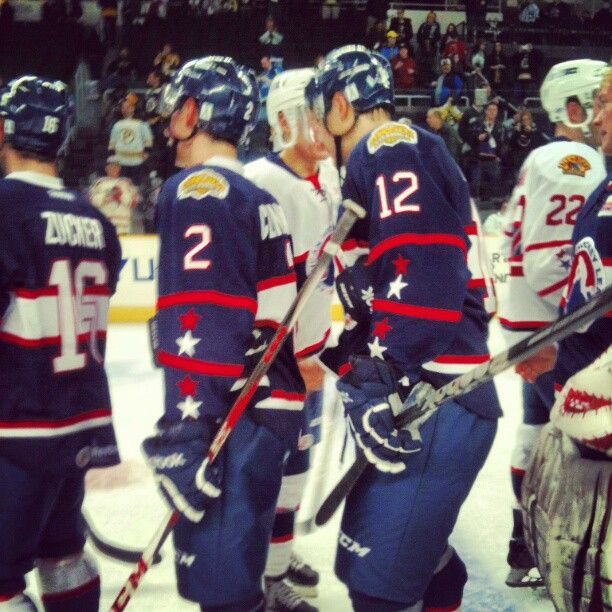 Post-game hand shakes at the 2013 AHL All-Star Classic. The Western Conference defeated the Eastern Conference 7-6.