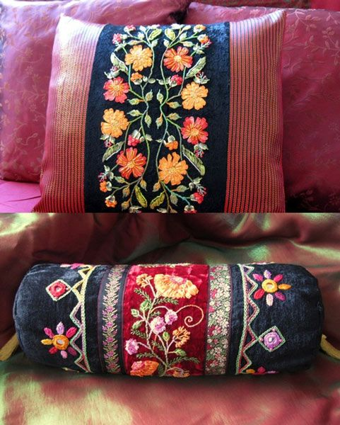Basics to Learn Embroidery Designs with Free Hand Stitch Indian | kwikdeko Phulkari Embroidery on cushions