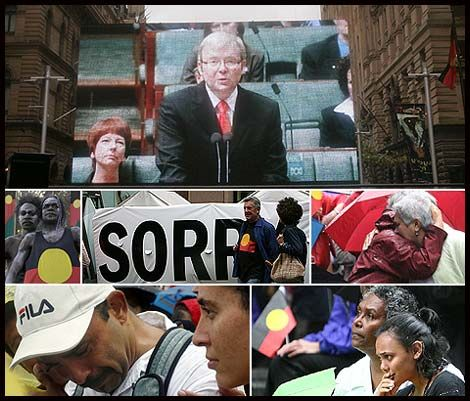 Kevin Rudd formally apologised on the behalf of Australia to the Stolen Generation (Indigenous people who were taken as children away from their families).  Mr. Rudd's apology was a step towards reconciliation between white Australia and Indigenous Australians.