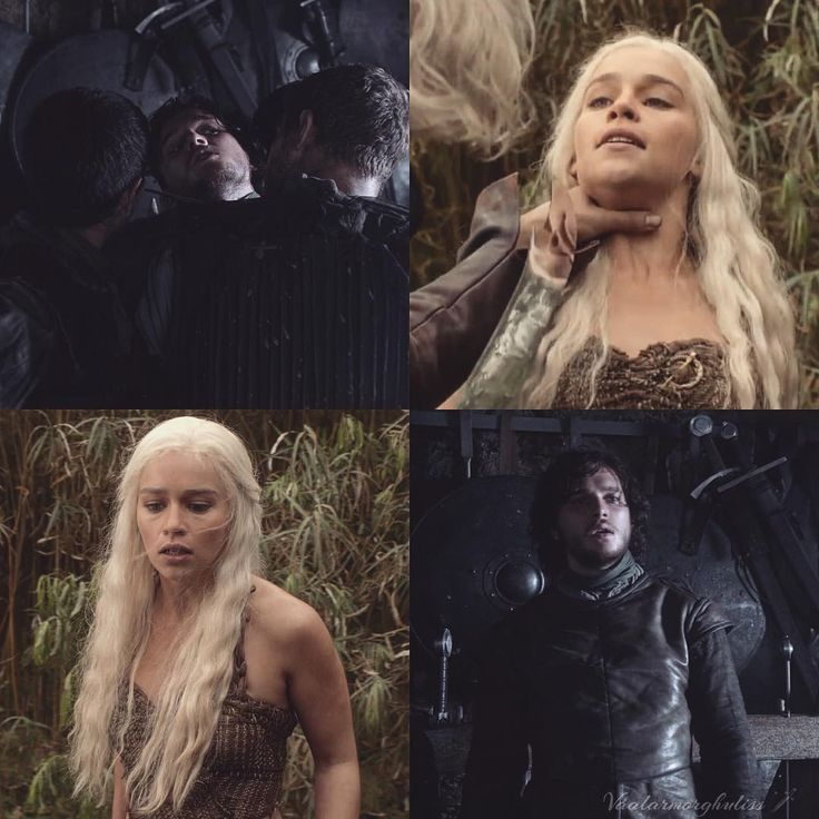 "Another parallel between them These scenes are from the same episode ""Lord Snow"" (1x03). They are both attacked at the throat and both by their brothers. Dany by her brother Viserys and Jon by his brothers of the Night's Watch. Their parallels are countless  #gameofthrones #got #daenerys #daenerystargaryen #targaryen #stark #jonsnow #kinginthenorth #jonerys #kitharington #emiliaclarke #kimilia #asongoficeandfire #iceandfire #parallel #snow #dragon #fire #ice #motherofdragons #blondehair…"