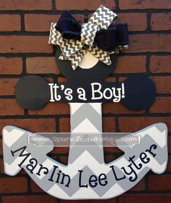 Personalized Chevron Anchor Baby Announcement by SparkledWhimsy