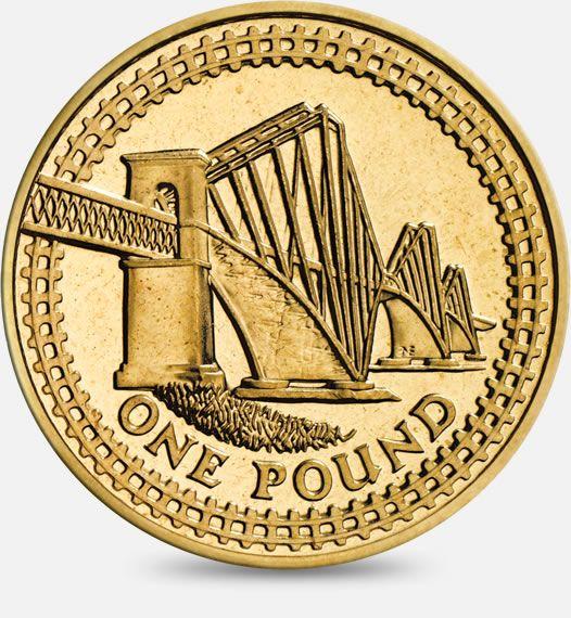 2004 'Forth Railway Bridge' (inside a border of railway tracks) £1 (One Pound) Coin #CoinHunt