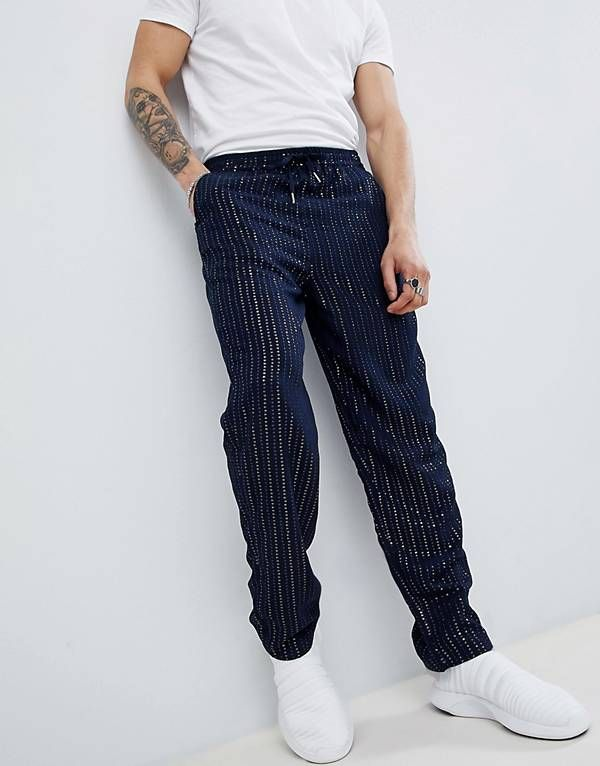 2bb258ee3e0 ASOS DESIGN skater pants with sequins stripes in navy