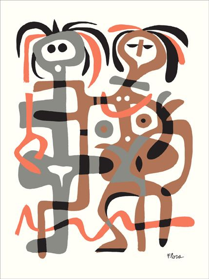 Jim Flora :: Screen Print :: Entangled Couple