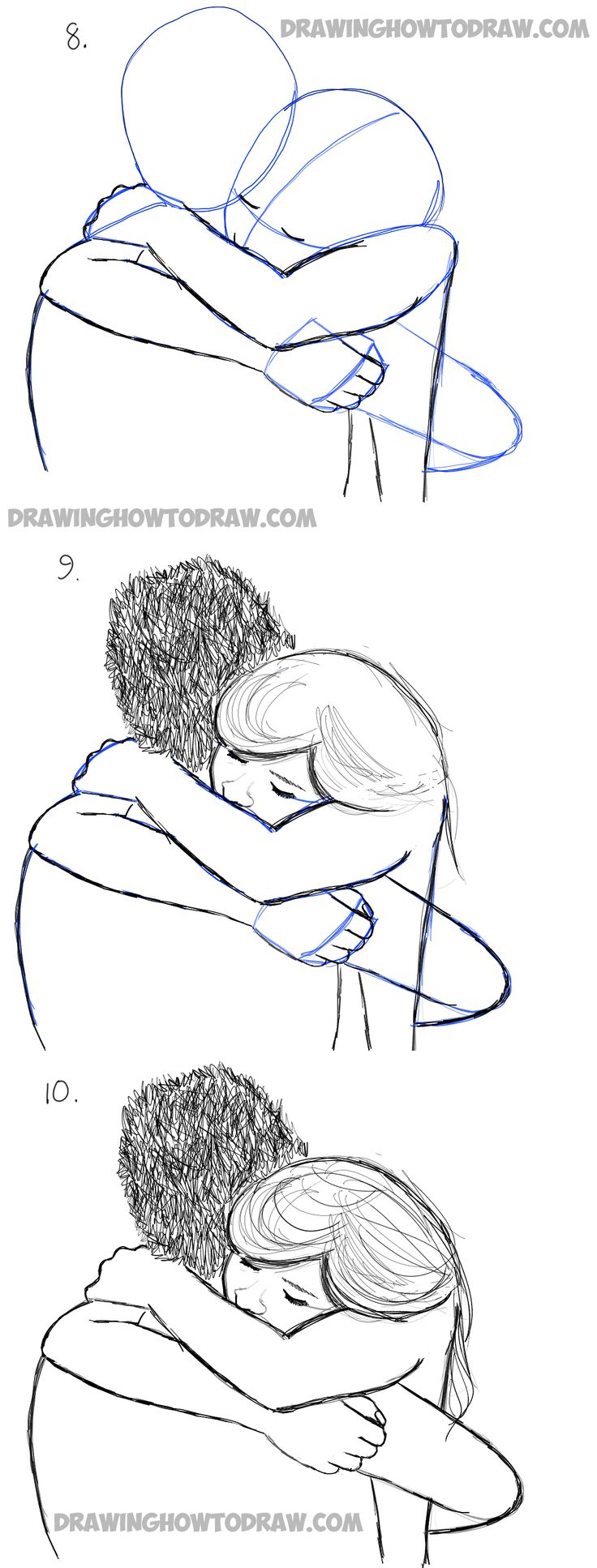hugging drawing