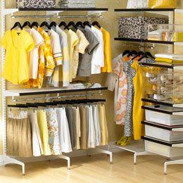 The Container Store > Walnut & White elfa décor freestanding Walk-In Closet