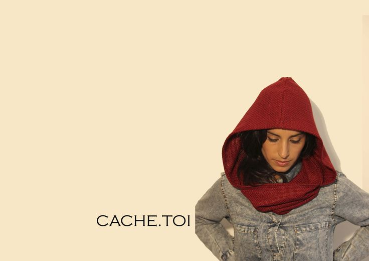 bordeaux fashion hooded scarf
